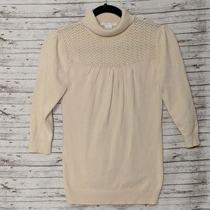 Charlotte Russe turtleneck sweater cream SZ:M 3/4